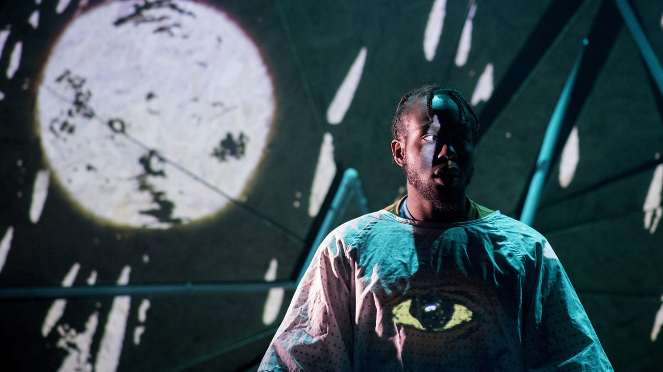 Caleb Femi in Paper Birds production, Goldfish Bowl. Photo by Camilla Greenwell.