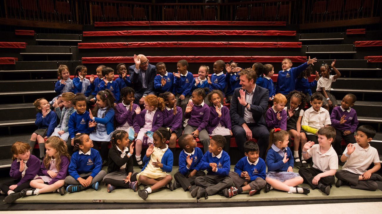 Sponsors from L&Q and children from local schools who got free tickets through the scheme. Photo Roswitha Chesher.