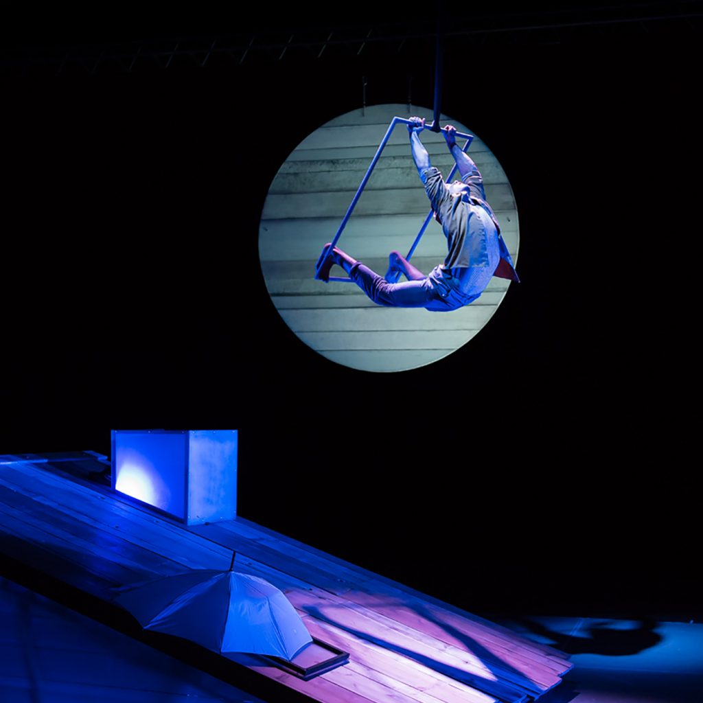 Spotlight shows a circus performer swinging across a stage on a trapeze.