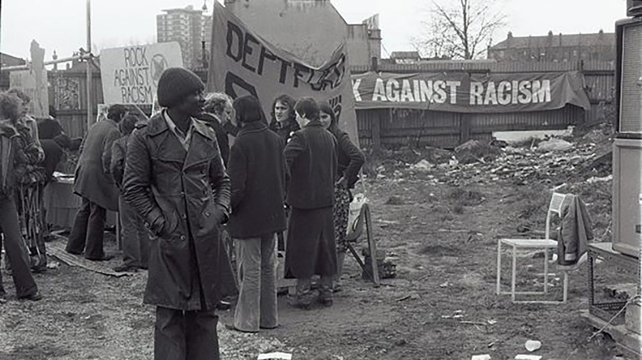 After the fire at the Albany Empire - a Rock Against Racism Stall at the site.