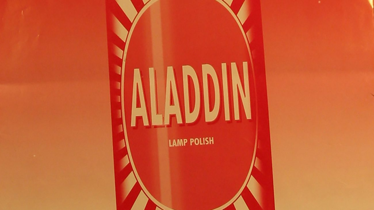 Poster for London Bubble's Aladdin in the 'new' building.