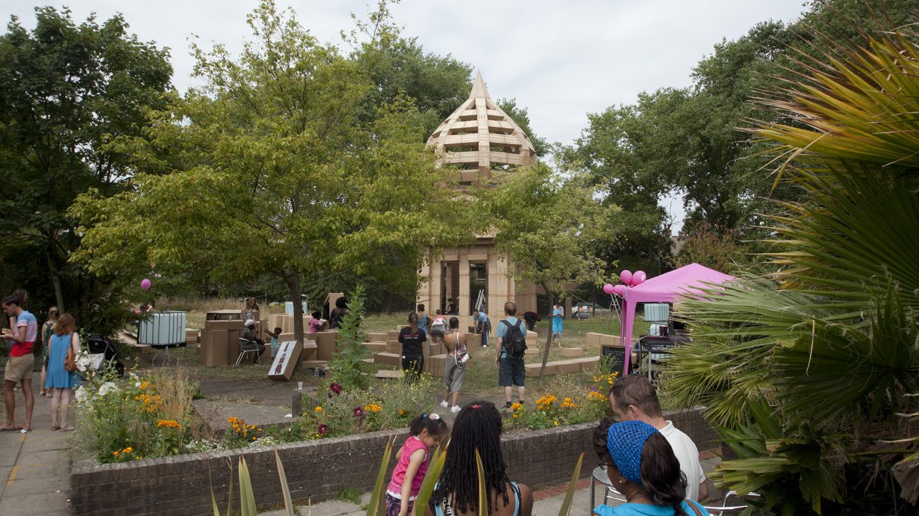 A community event in the Albany garden: The People's Tower. Photo Charlotte E Groves.