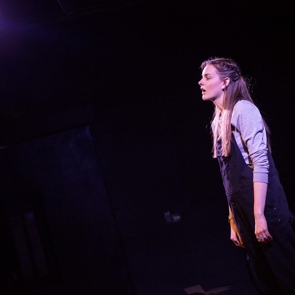 Cecilia Knapp on stage performing Finding Home at The Last Word, the Roundhouse.