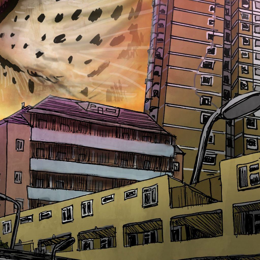 Drawing of lots of buildings crowded together - terraced houses, low and high-rise flats - with a leopards nose and snout visible in the top left corner. Faded orange, brown, yellow and pink in colour.