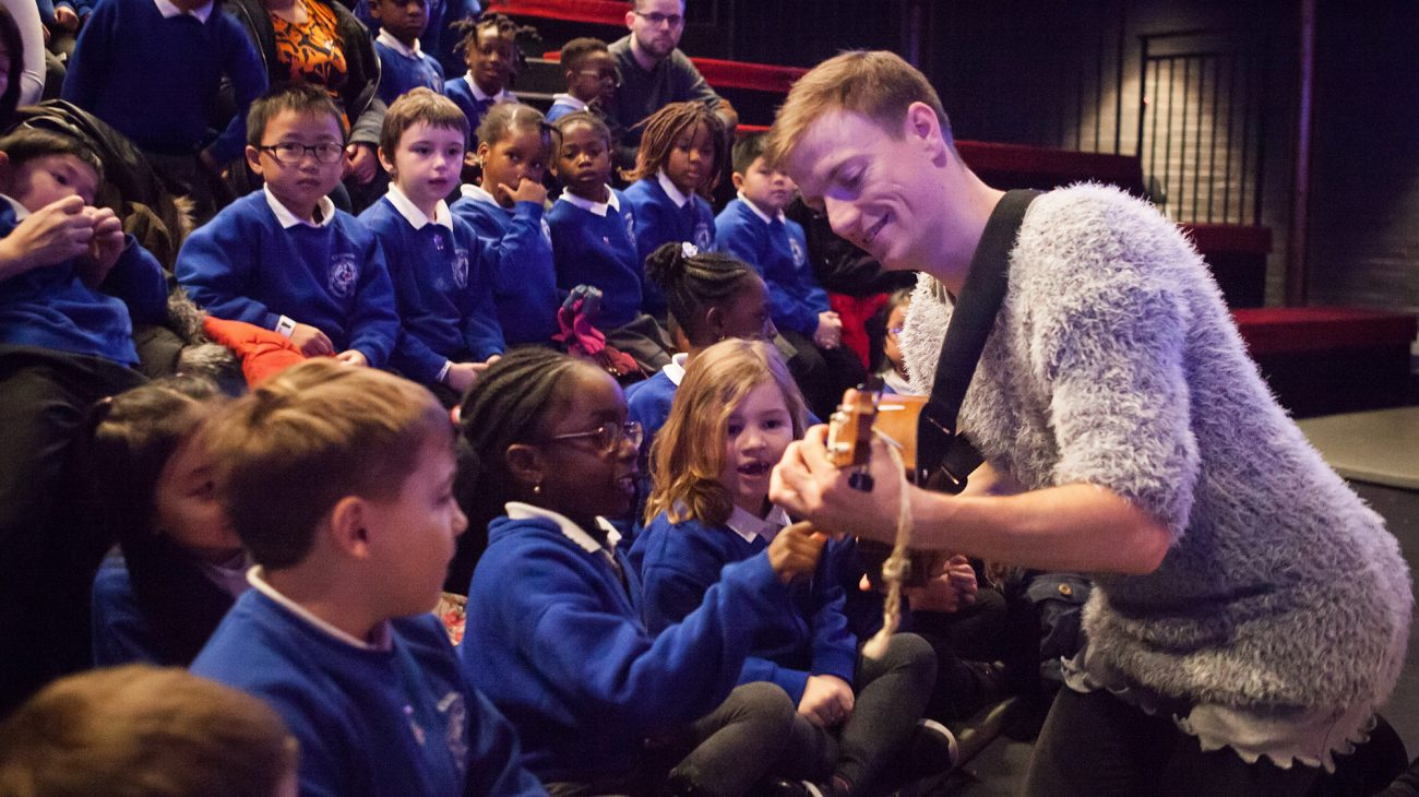 Children from Childeric School visit the Albany in to see The Ugly Duckling thanks to the campaign. Photo Chris Marchant.