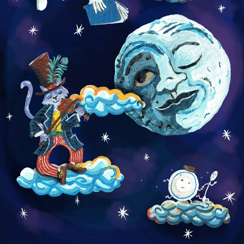 Hey Diddle Diddle drawn artwork featuring a cow, a moon and a cat playing a fiddle!