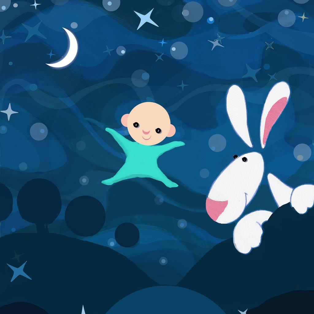 Sleepyhead illustration featuring a baby in a babygrow and a white rabbit.