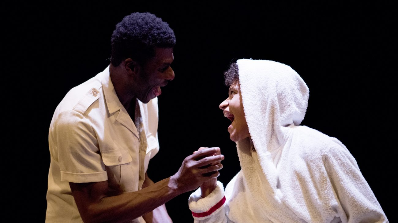 Mojisola Adebayo & Charlie Folorunsho in Muhammad Ali and Me. Photo by Camilla Greenwell.