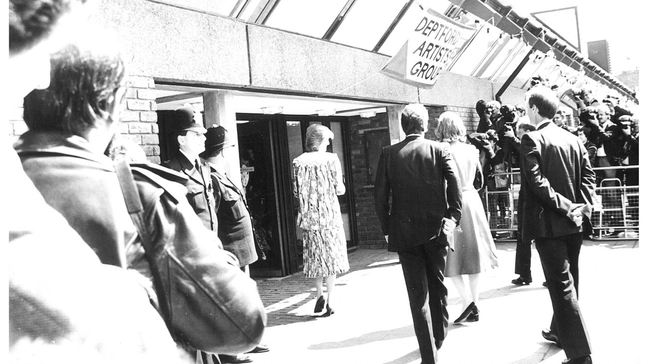 Princess Diana going into the entrance of the Albany.