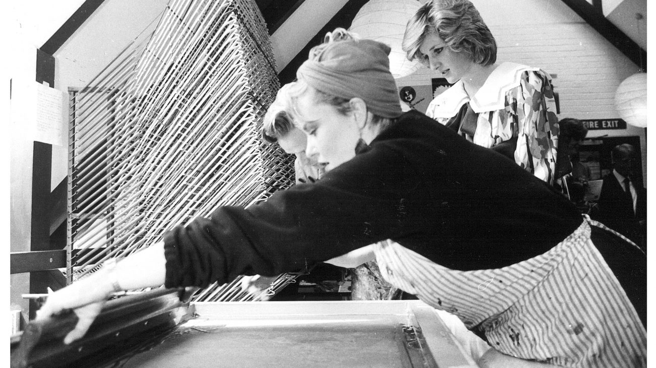 Princess Diana looking at the artists at work at the Albany, in an artist's studio.