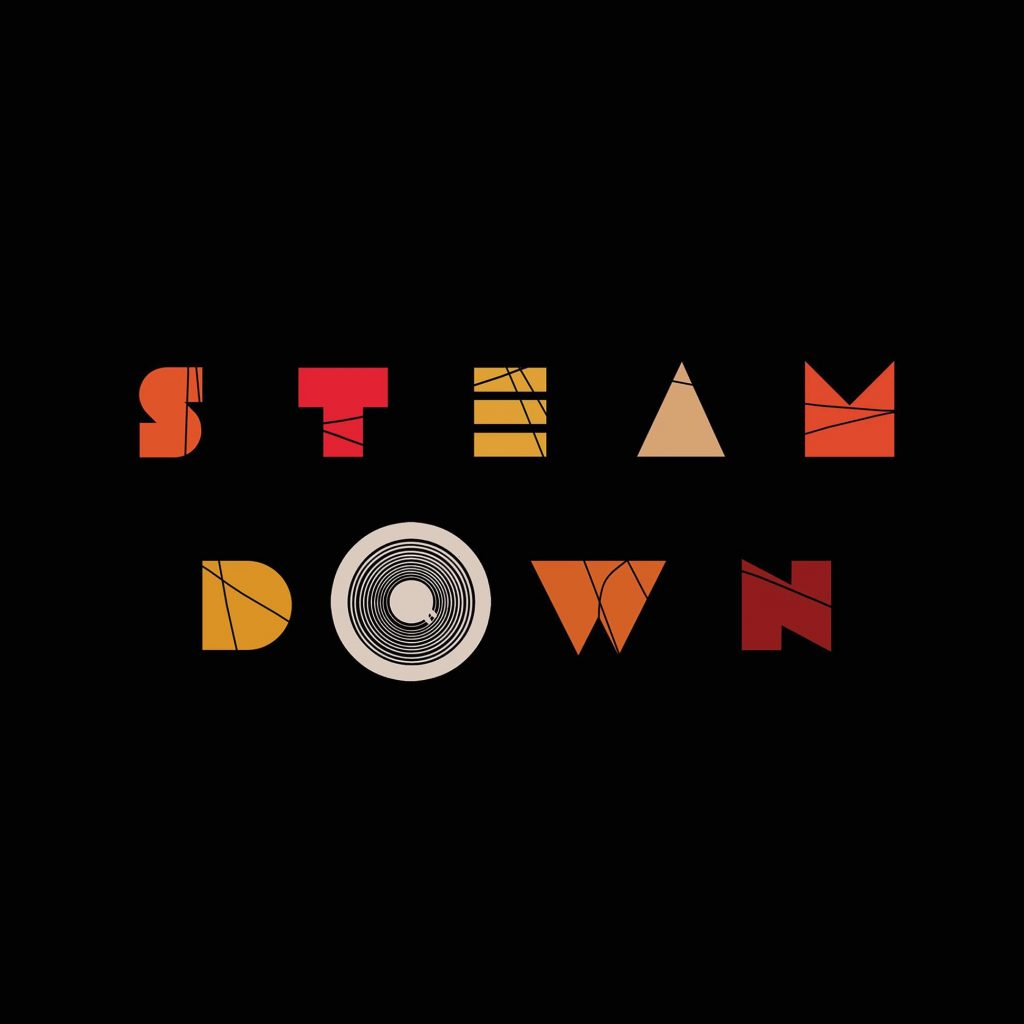 Steamdown artwork: the words on a black background in reds and oranges.