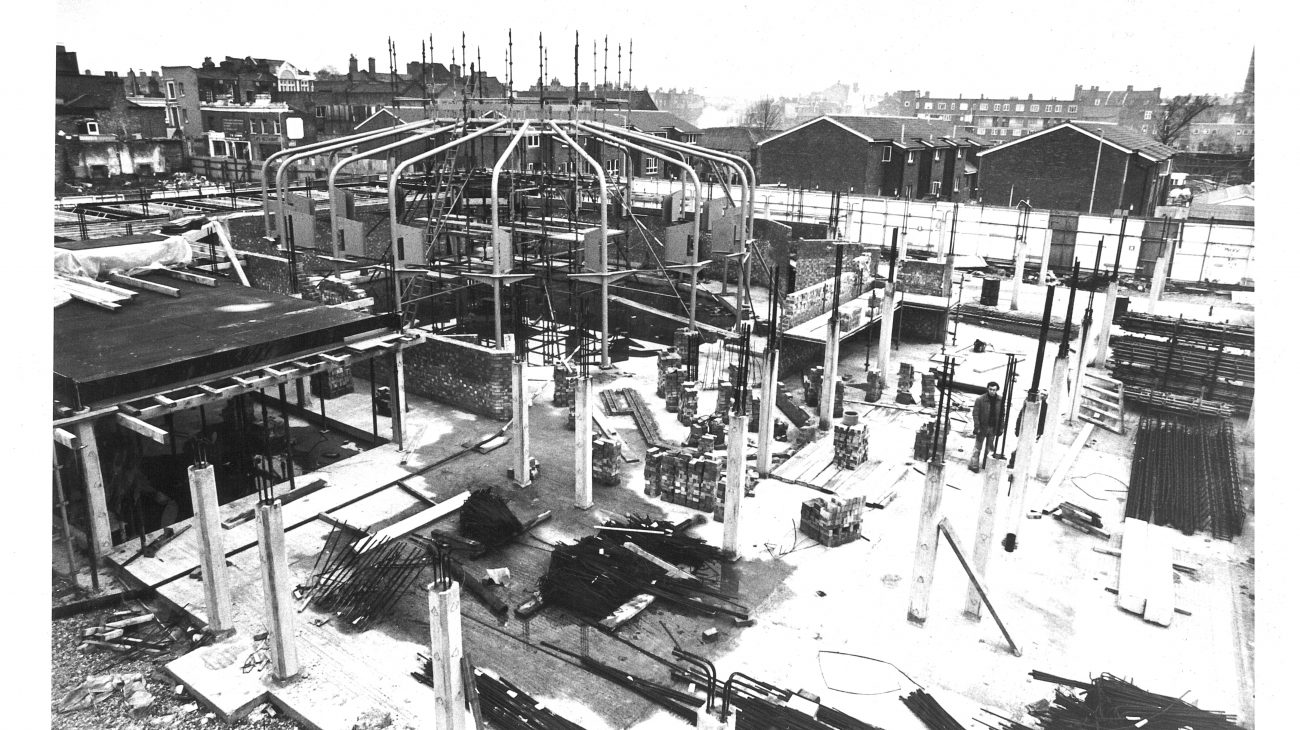 The Albany construction site in approximately 1982.