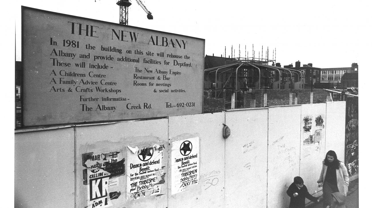 The Albany construction site signage in 1982.