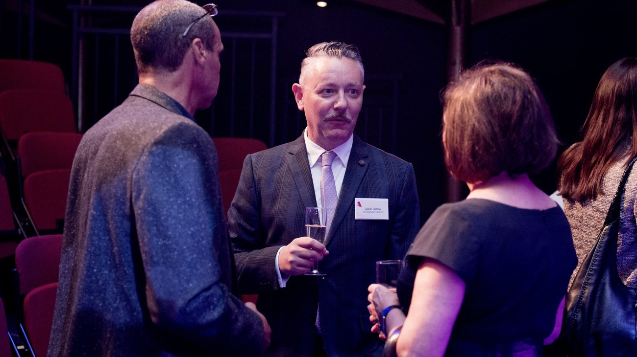 Albany chief executive, Gavin Barlow and Chair, Dame Joan Ruddock at an event at the Albany. Photo Camilla Greenwell.