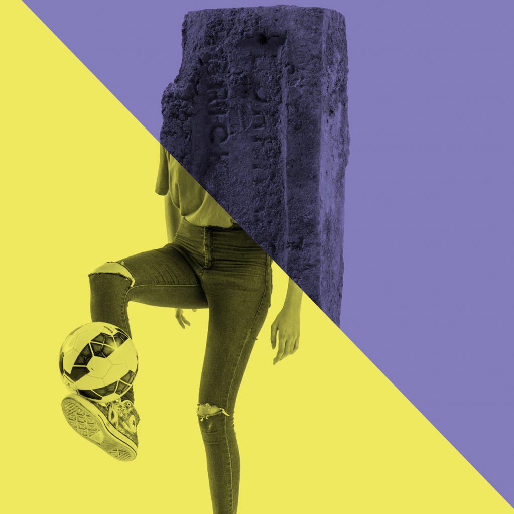 Graphic design with a brick on the top half (purple wash) and a person's legs in tight jeans with a football in the bottom half (yellow wash). Separated by a diagonal line.