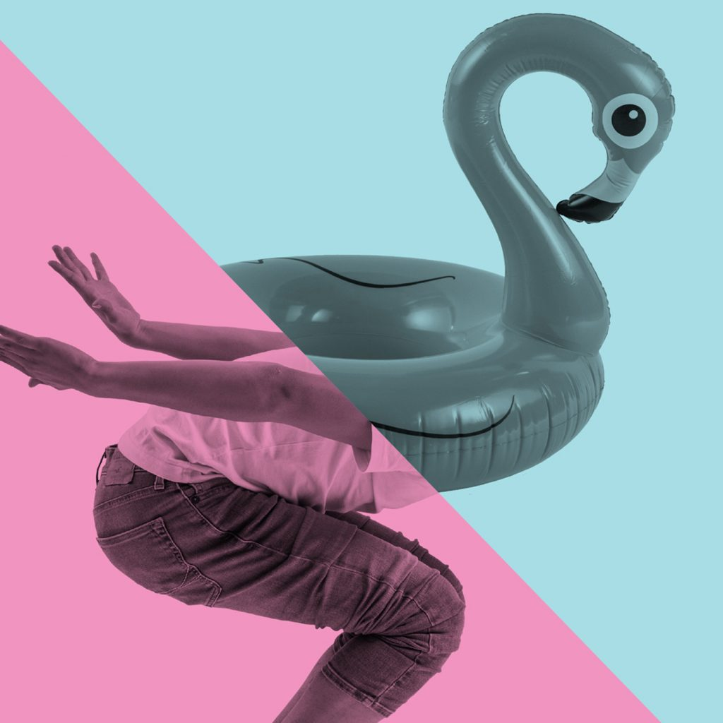 Graphic design with a blow-up flamingo (blue wash) in the top half and a person's legs, bent down, sideways on, in the bottom half (pink wash). Separated by a diagonal line.