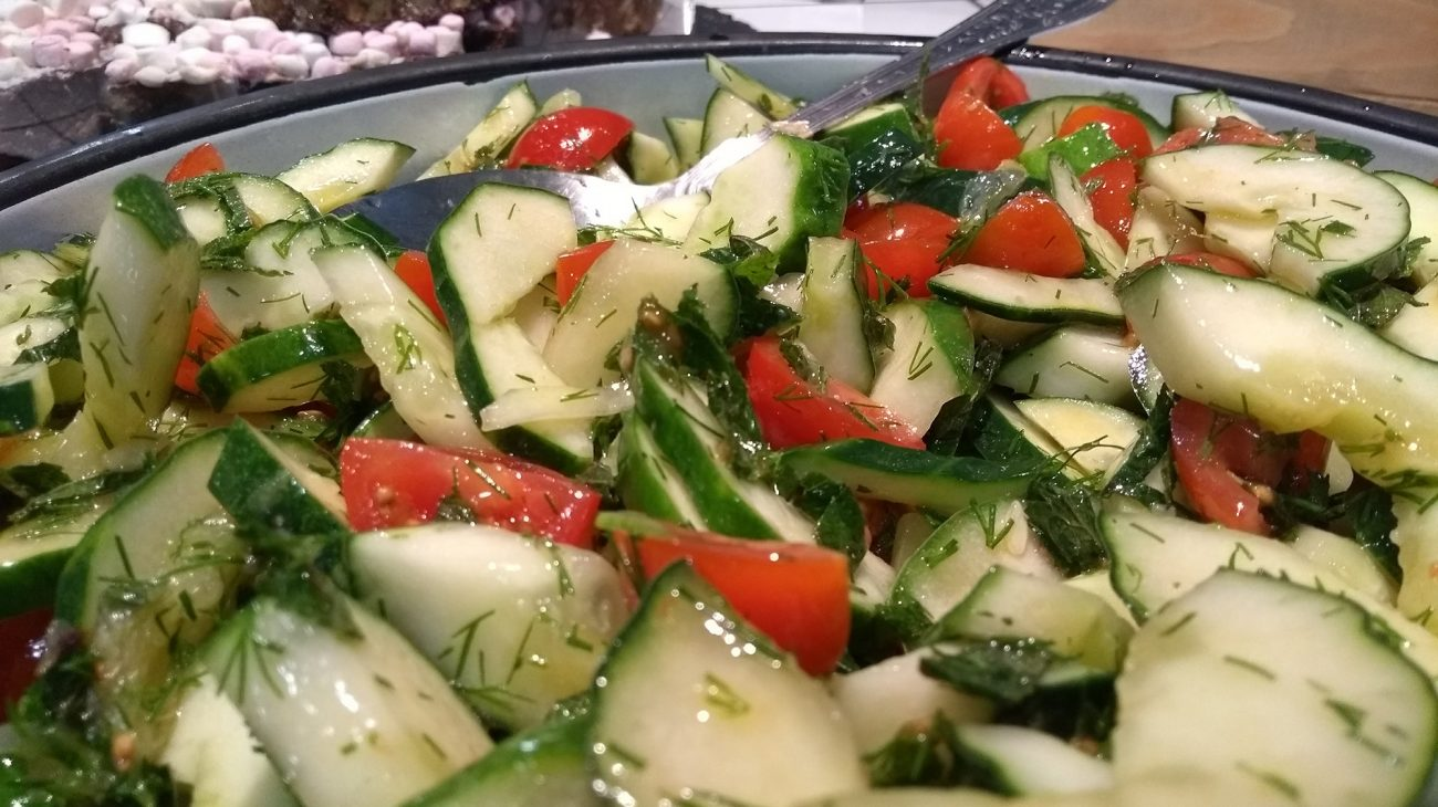 A salad made with produce from the Albany garden on sale in Caff A.