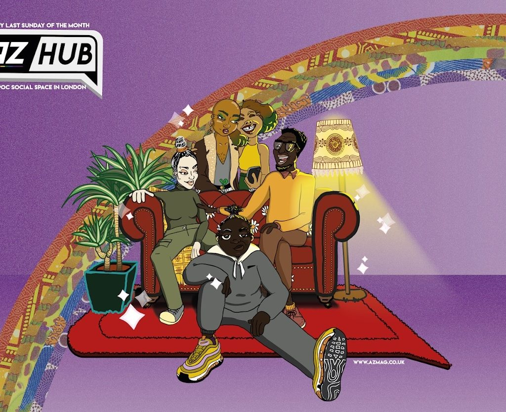 six people of colour sit on and around a sofa with a rainbow in the background.