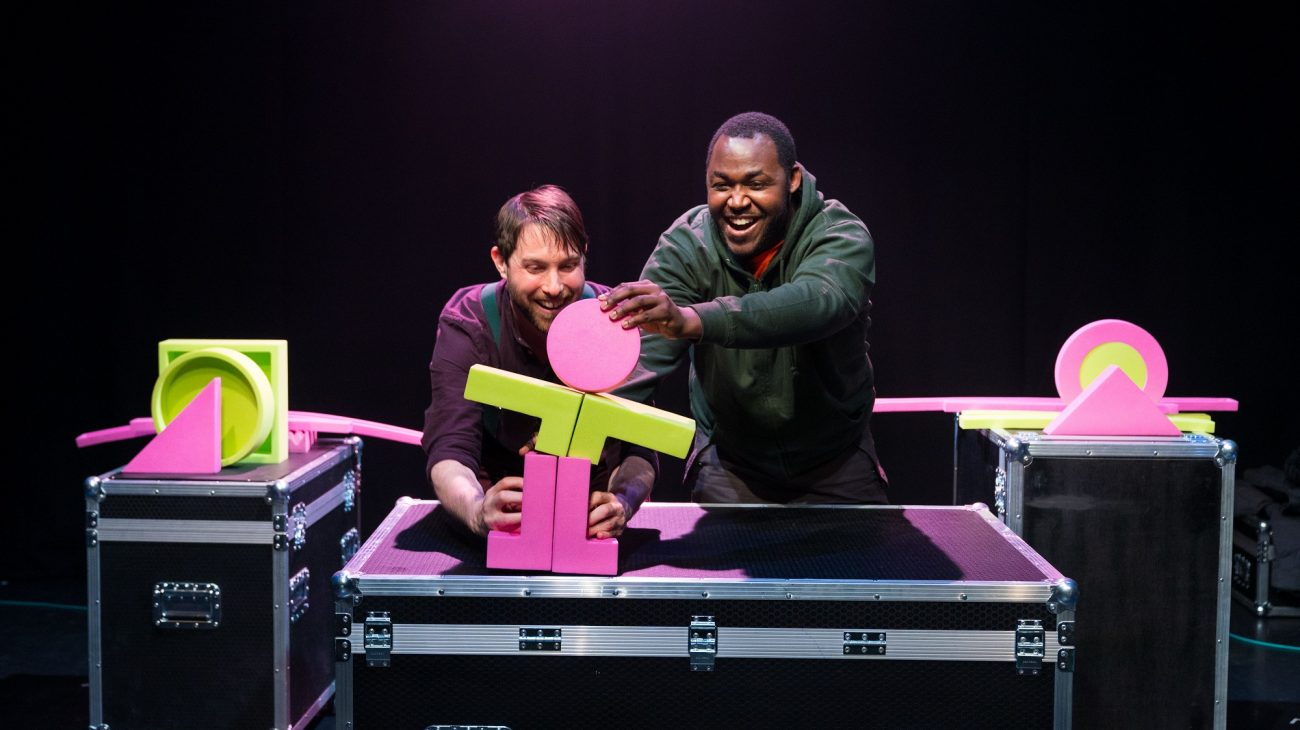 Production photograph from BIG UP! Left to right:  Iestyn Evans & Clarke Edwards. Photo Helen Murray.