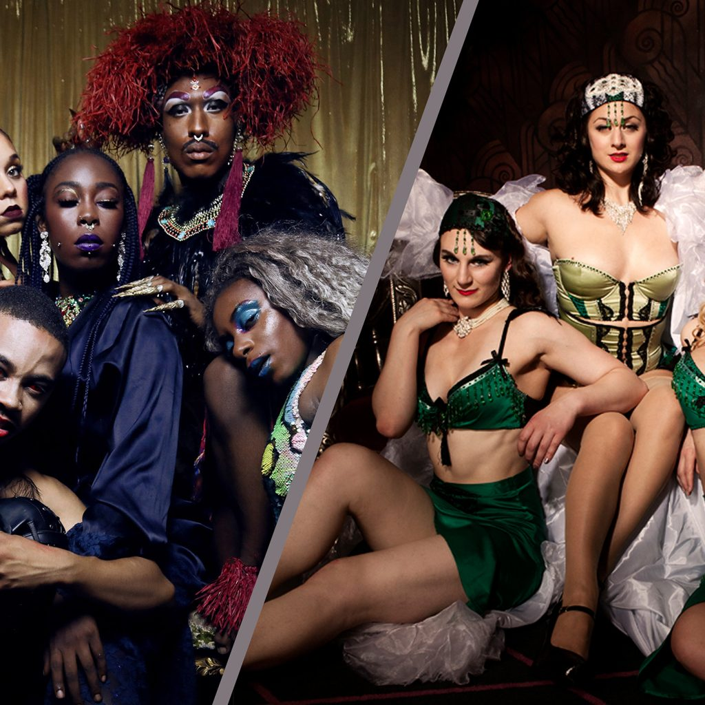 Split image of the two exotic and scantily clad groups of cabaret performers.