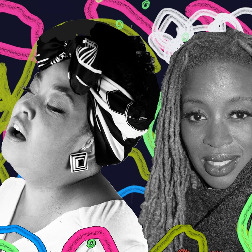 Montage image of the three female artists performing