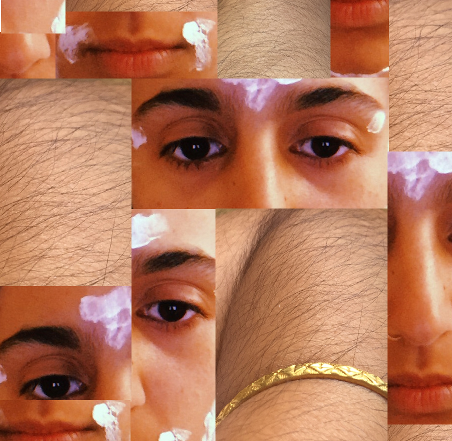 A collage of images featuring arm hair, eyes, top lip and a bangle.