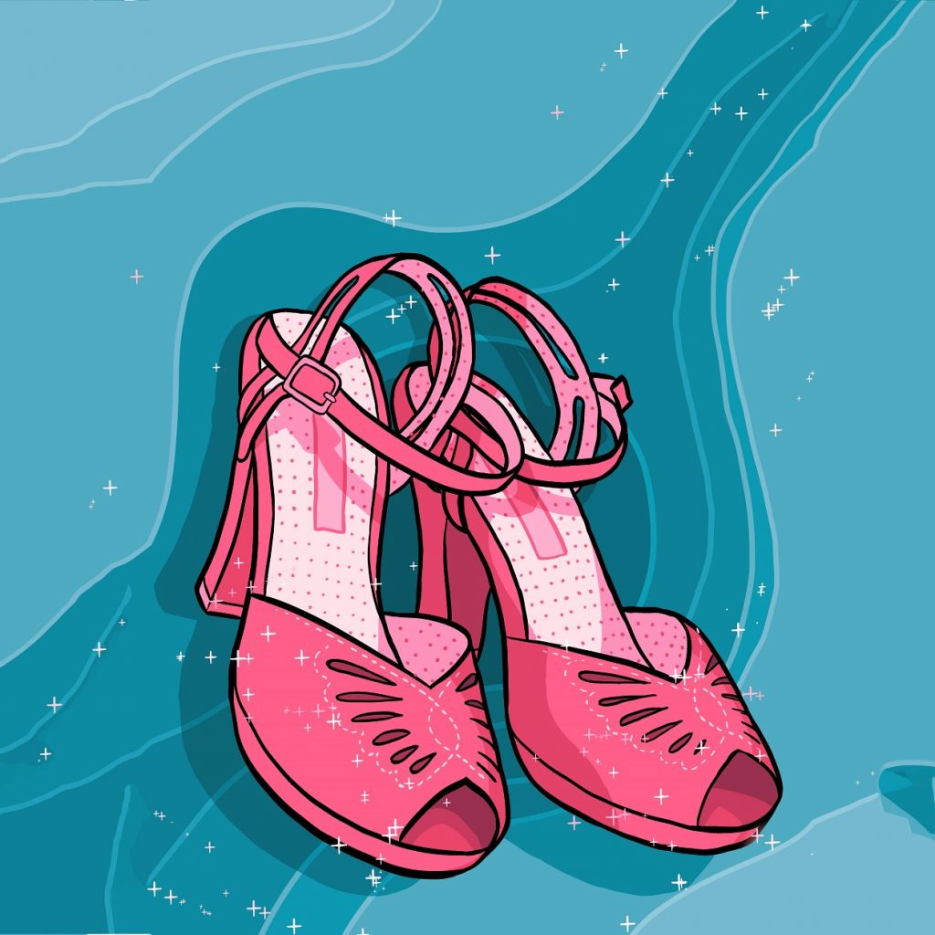 Illustration of a pair of pink high heeled shows on a blue background.