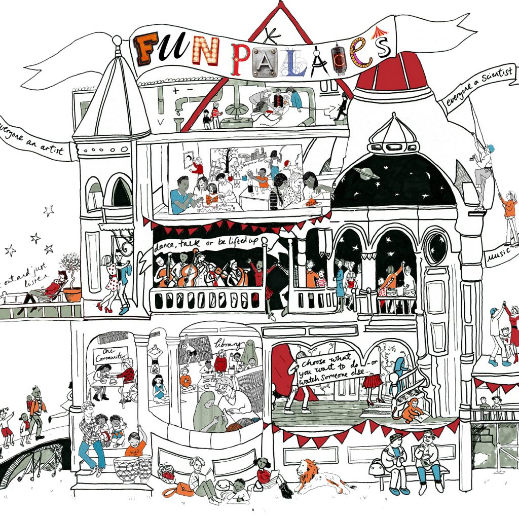 Illustration of a large house with people doing various activities in each window.