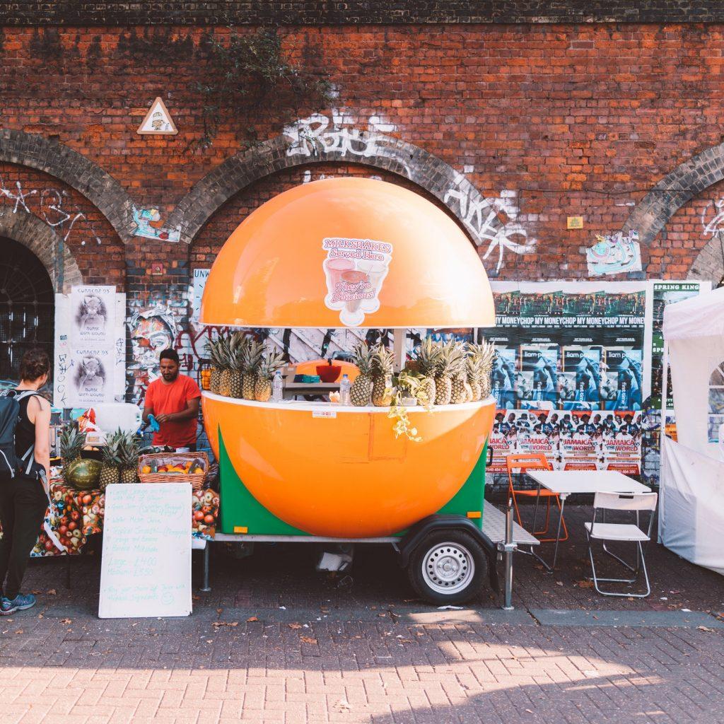 Image of a market stall selling milkshakes