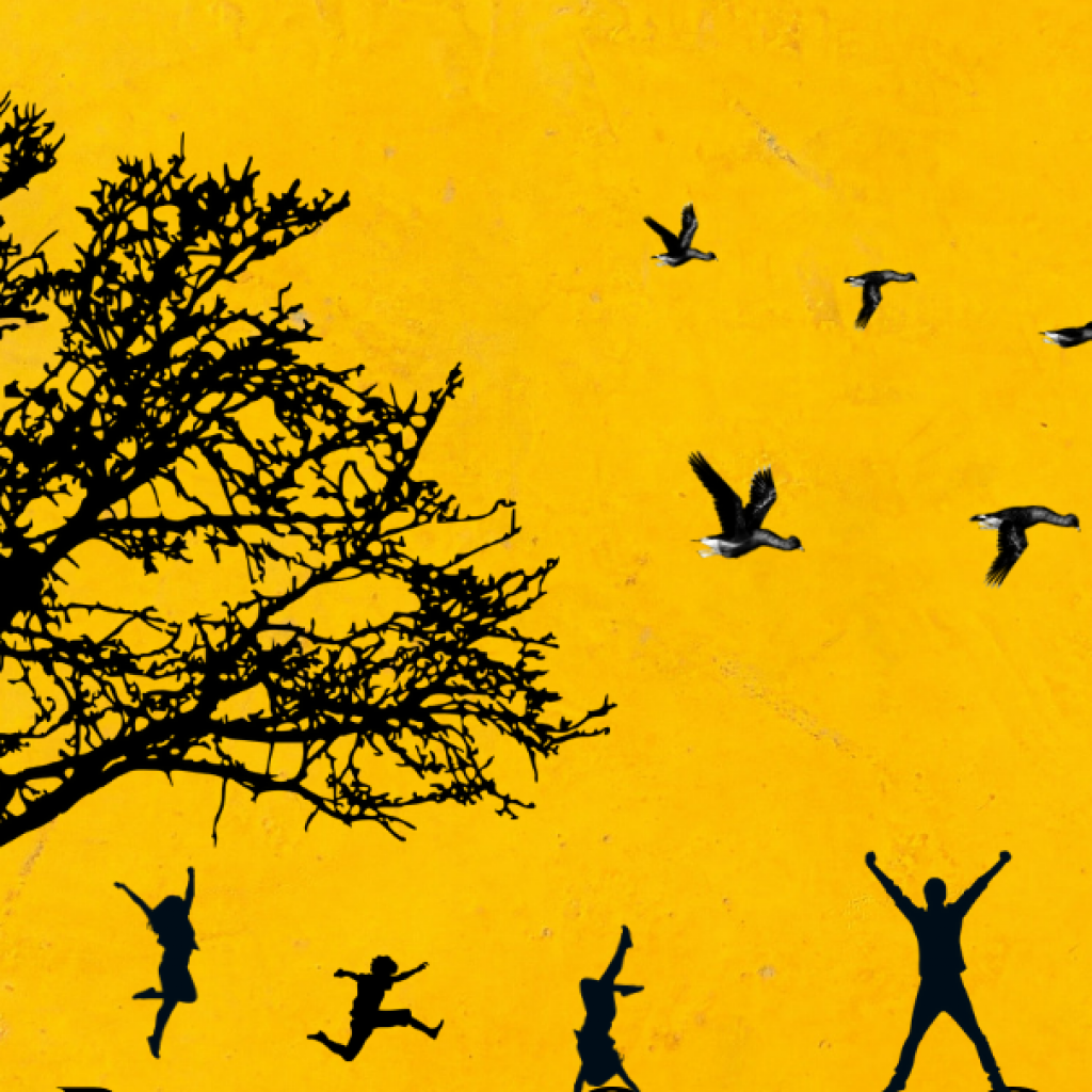 Illustrated image of the silhouette of a tree, birds and people jumping against a yellow background.