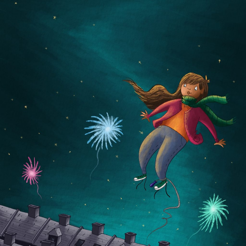 Image of young girl flying over houses in the evening.