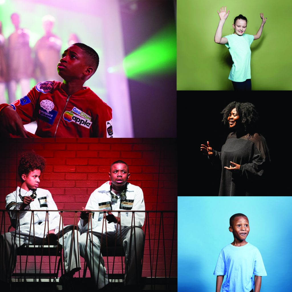 A montage of images of young people performing.