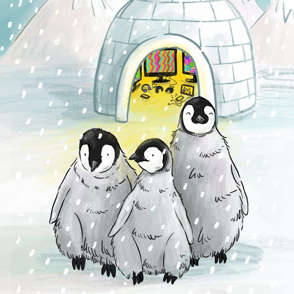 Image of three penguins standing in front of a lit up igloo.